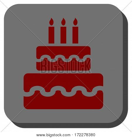 Birthday Cake rounded button. Vector pictograph style is a flat symbol in a rounded square button, dark red and black colors.