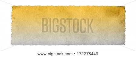 Concept or conceptual old vintage brown golden paper background aged texture isolated on white horizontal banner