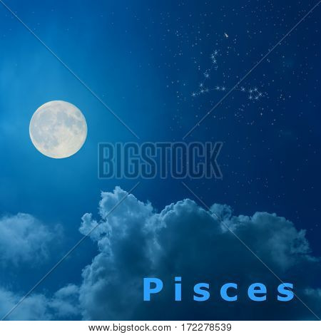 full moon in the night sky with design zodiac constellation Pisces