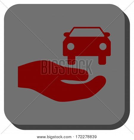 Car Gift Hand toolbar icon. Vector pictograph style is a flat symbol on a rounded square button, dark red and black colors.