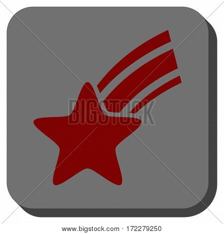 Falling Star interface toolbar icon. Vector pictogram style is a flat symbol inside a rounded square button, dark red and black colors.