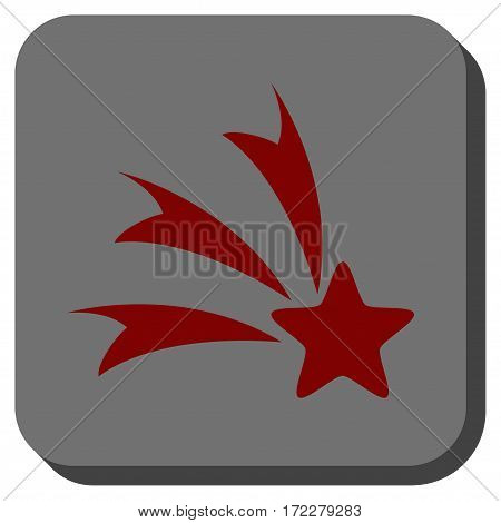 Falling Star square button. Vector pictogram style is a flat symbol centered in a rounded square button, dark red and black colors.