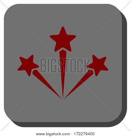 Festive Fireworks interface toolbar icon. Vector pictogram style is a flat symbol centered in a rounded square button, dark red and black colors.