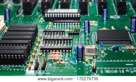 Part of an electronic device motherboard close up