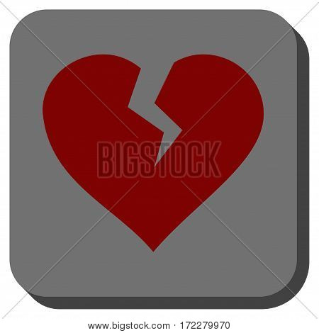 Heart Break rounded button. Vector pictograph style is a flat symbol centered in a rounded square button, dark red and black colors.