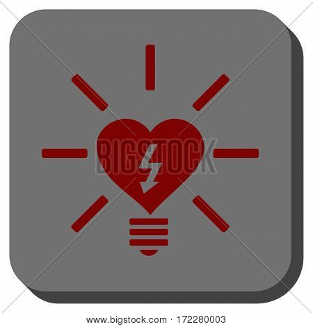 Heart Electric Bulb interface button. Vector pictograph style is a flat symbol on a rounded square button, dark red and black colors.