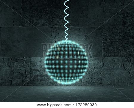 Glitter vintage lights background. Neon shine disco particles. Ray light from sphere. Concrete interior room. 3D rendering