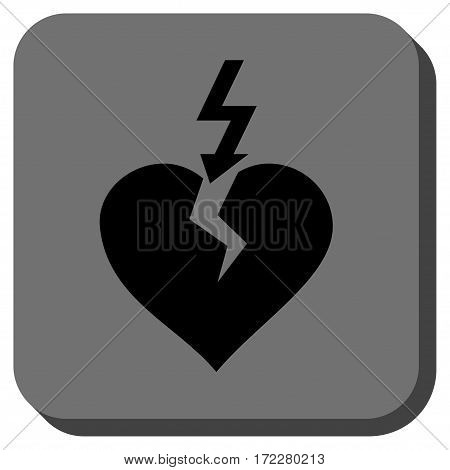 Break Heart square button. Vector pictograph style is a flat symbol centered in a rounded square button, black and gray colors.