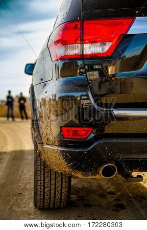 off-road, SUV rear, dirt, spray, summer, autumn, competition