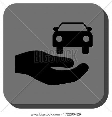 Car Gift Hand square button. Vector pictogram style is a flat symbol inside a rounded square button, black and gray colors.
