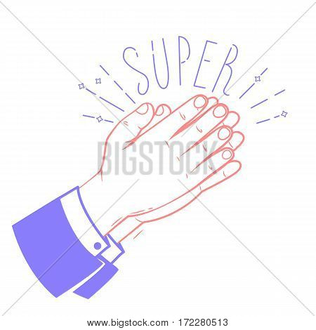 Icon Clapping Hands With The Text Super