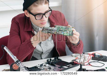 Electronics Construction Repair Development Computer Workshop Fixing Business Student Education Concept