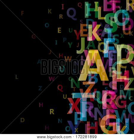 Vector Abstract Alphabet on black background in confusion