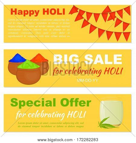 Big Sale and special offer banners with flags colorful gulal and bhang lassi for website header or banner set for celebrate Holi in simple cartoon style. Vector illustration. Holiday Collection.