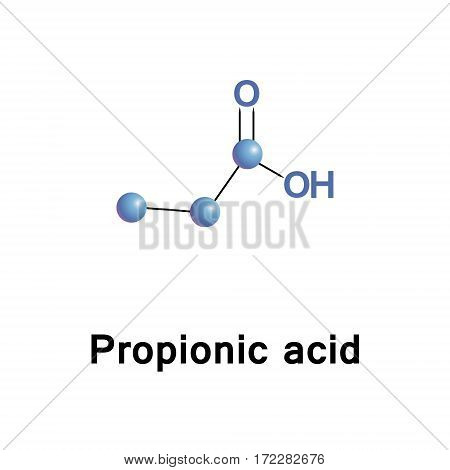 Propionic or propanoic acid is a naturally occurring carboxylic acid with chemical formula CH3CH2COOH. It is a clear liquid with a pungent and unpleasant smell somewhat resembling body odor.