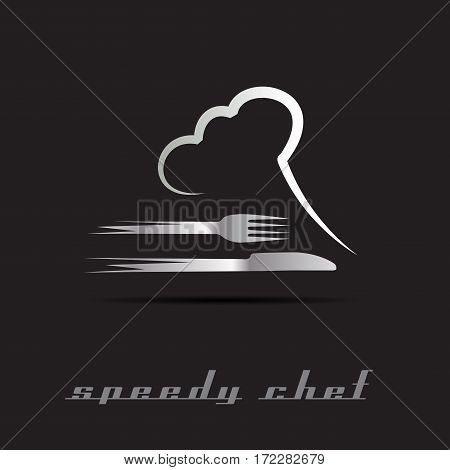 Vector Speedy Chef, isolated illustration on black