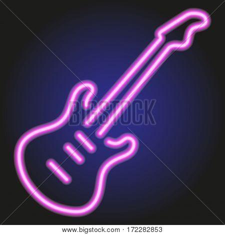 guitar pink neon glowing on dark background of vector illustration