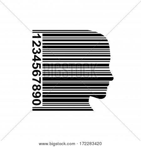 Vector sign head in a bar code, isolated illustration on white