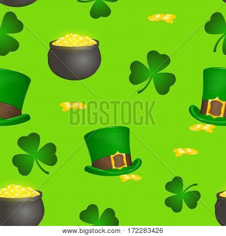 Saint Patrick's Day colorful seamless pattern with leprechaun hat pot gold and shamrock in simple cartoon style. Vector illustration. Holiday Collection.