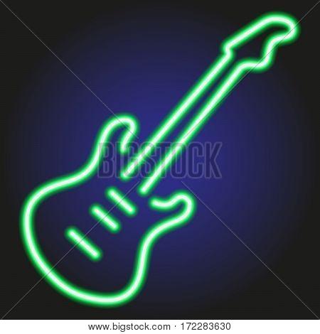 guitar green neon glowing on dark background of vector illustration