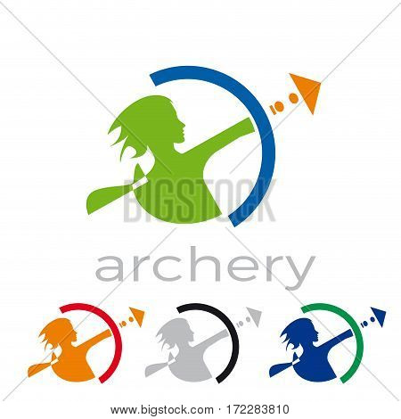 Vector sign abstract Archer, isolated illustration on white