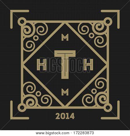 Geometric monogram vintage abstract logo vector. Luxury insignia logo vector. Monogram emblem insignia. Vector monogram sign. Isolated monogram symbol. Luxury logo for abstract brand. Vintage monogram logo on black background.