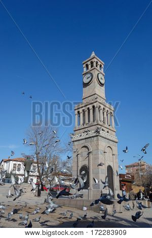 ANKARA, TURKEY - FEBRUARY 18, 2017: The clock tower in Hamamonu District. Recently renovated Hamamonu is the new tourist magnet in Ankara