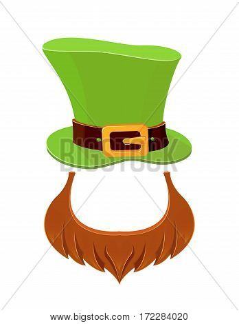 St. Patrick day icons on white background, leprechauns green hat and beard, illustration.