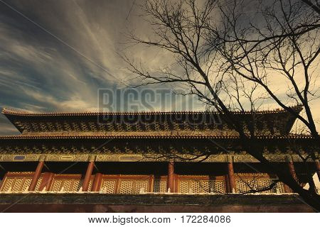 The Chinese royal palace with twilight sky in the Forbidden City at Beijing China