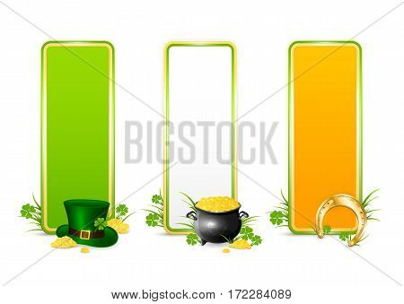 St.Patricks Day banners in the colors of the Irish flag, isolated on white background, green hat of leprechaun, golden horseshoe, clover and pot of gold, illustration.