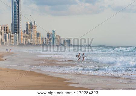 Surfers On Surfers Paradise Beach