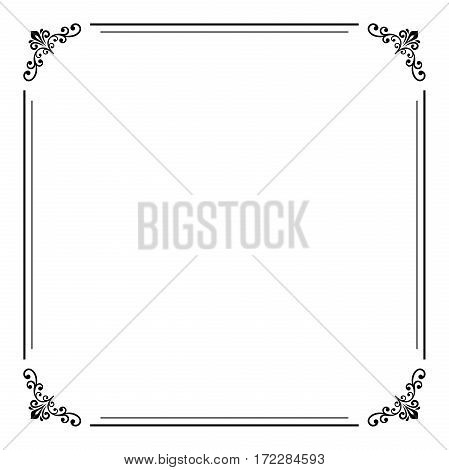 Classic square frame with arabesques and orient elements. Abstract fine ornament with place for text. Black and white colors