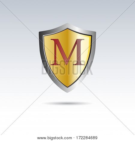 Vector shield initial letter M, isolated illustration on white