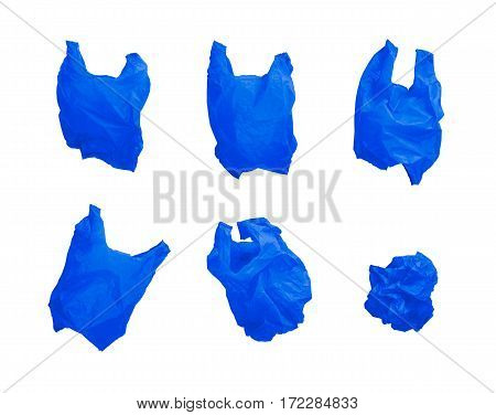 Collection of blue color plastic bag in different composition isolated on white background.