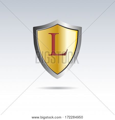 Vector shield initial letter L, isolated illustration on white