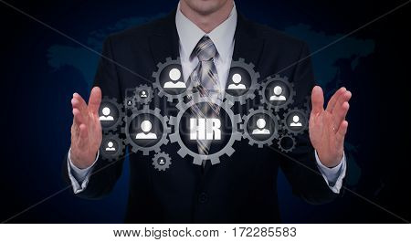 Hand carrying businessman icon network - HR teamwork and leadership concept