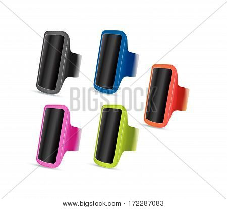 Vector illustration of sport accessories. Realistic illustration of sport holder for smartphone.