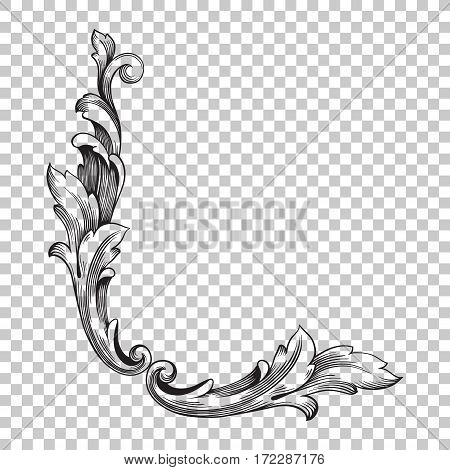 Isolate vintage baroque ornament retro pattern antique style acanthus. Decorative design element filigree calligraphy vector. You can use for wedding decoration of greeting card and laser cutting.