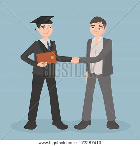 The guy is a graduate of the University awarded a diploma. Vector illustration