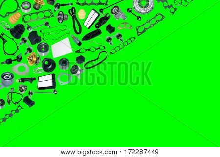 pare auto parts car on the green background. Set with many isolated items for shop or aftermarket. Chroma key, greenscreen