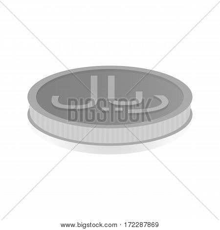 Vector illustration of a silver coin with symbol of rial riyal.