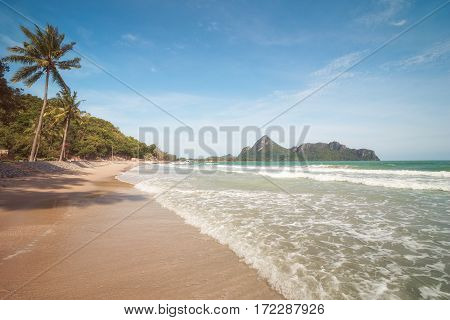 Ao Manao Beach Surrounded By Limestone Hills Emerging from the Sea near Town of Prachuap Khiri Khan, Thailand