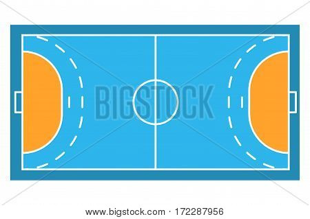 Sample sport field arens of Handball. Flat design. Vector illustration.
