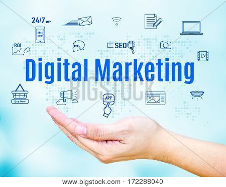 Open Hand With Digital Marketing Word And Feature Icon,internet Business Concept.