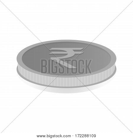 Vector illustration of a silver coin with symbol of rupee rupiah.