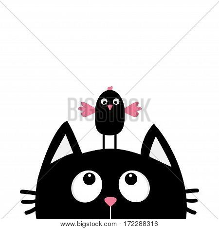 Black cat face head silhouette looking up to funny bird. Cute cartoon character. Kawaii animal. Baby card. Pet collection. Flat design style. White background. Isolated. Vector illustration