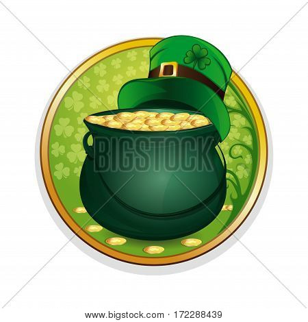 Magic pot of gold coins and hat leprechaun on a background leaf clover. Celebrating St. Patrick's Day symbols. Vector illustration