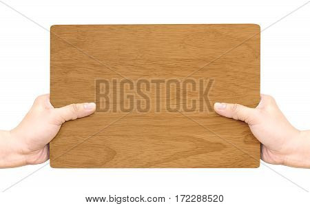 Hand Holding Dark Brown Wood Sign Isolated On Whtie Background,mock Up For Adding Your Text