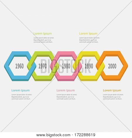 Five step Timeline Infographic. Colorful 3D polygon line chain segment. Template. Flat design. White background. Isolated. Vector illustration