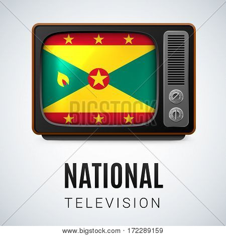 Vintage TV and Flag of Grenada as Symbol National Television. Tele Receiver with Grenadian flag